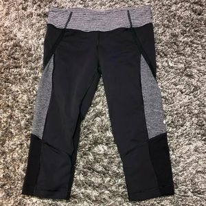 Lululemon Gray striped Heather Run cropped legging